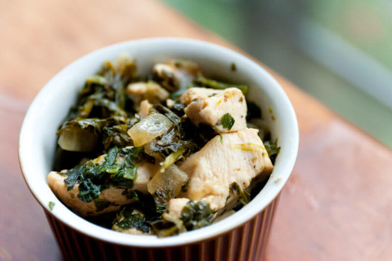super fast chicken and spinach dinner