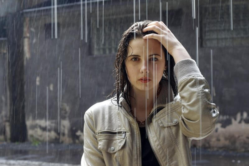 Woman in rain_image for struggling on keto and how to overcome it
